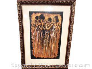 Gold And Maroon Frame With Women Dancing