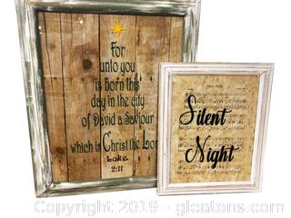 Set Of 2 Christmas Pictures Luke 2:11 Silent Wight