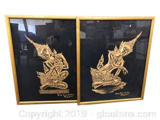 Signed Authentic Original Thai Cambodian Gold On Cloth