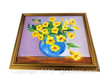 Oil Painting Yellow Flowers In Vase By Sheila Morgburge