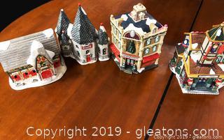 10 Piece Box Lot Christmas Village