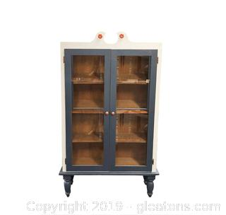 Nice Display Cabinet 3 Shelves Painted Blue And Copper