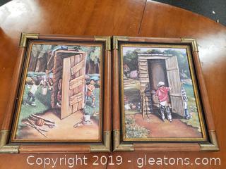 Pair Oil Certified By Ladonna BP Urban Art Bamboo + Brass Frame Set Of 2
