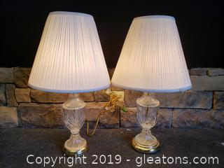 PR Of Vintage Cut Glass/Brass Base Table Lamps W/Shades