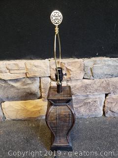 Lamp Brown Wicker No Shade