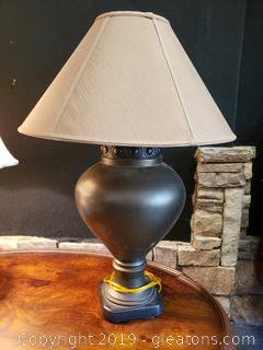 Ginger Jar Black Lamp With Brown Shade