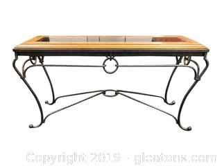 Very Nice Iron And Glass Sofa Table With Glass Insert