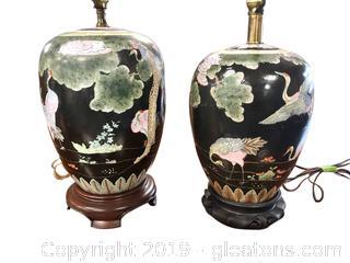 Lot Of 2 Lamps Asian Ginger Jar