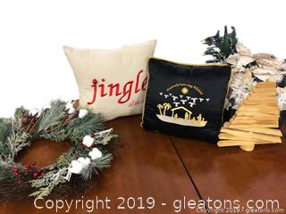 Box Lot B Christmas Wreath, Pillows, Flowers