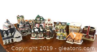 Box Lot Of Christmas Village Wickers Collector And Others