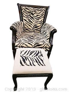 Decorative Designer Chair And Ottoman Zebra Upholstery