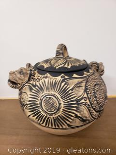 African Hand Crafted Vase With Lid