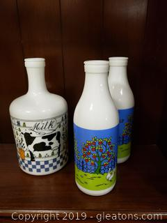 """Carlton"" Glass Set Of 3 Juice Jars Farmhouse Style"