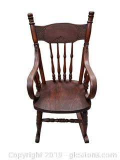Antique Nicely Carved Childs Rocking Chair