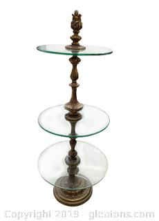 Brass Glass 3 Level Shelf Round