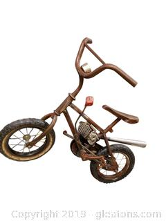 Folk Art Metal Bike With Motor Additim Lighted Stand