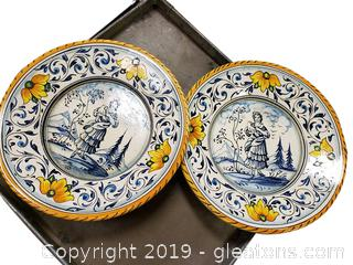2 Decorative Hand Painted Italian plates
