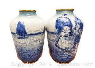 Pair Of Blue White Vase Girl Boy With Fish Ships Marked Haque