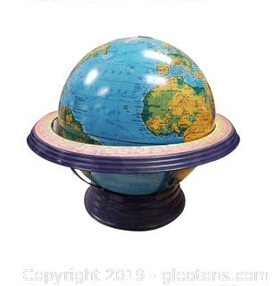 "Large Atlas Globe On Stand Made Of Metal ""Swivel"""