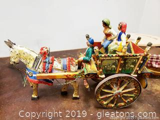 Wooden Hand Painted Carved Horse Buggy Cart Ri