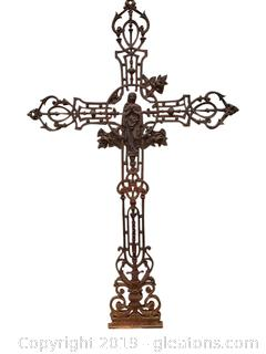 "Cast Iron ""Antique Decorative Cross Beautifully Designed For Cemetery Marker"