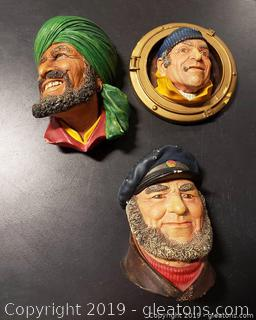Lot Of (3) Bosson Chalkware Wall ornaments Arab/Corsican Heads