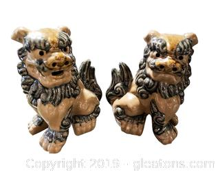 Pair Of Pottery Glazed Foo Lion