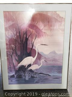 Vintage Hero Nim Asian Art Oriental Egrets Birds Hanging Wall Art