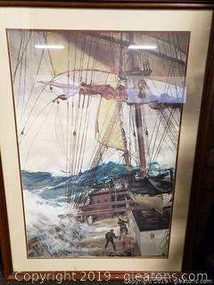 "Giant Framed Print of Painting By Montague Dawson ""The Rising Wind"" ECU"