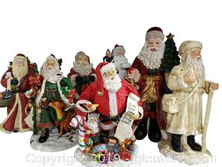 Lot Of Ceramic/Resin Tall Santa's With