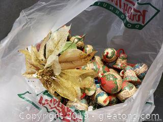Lot 26 Bag Lot Of Music/Paper/Decoupage Christmas Ornaments/Musical Gold Plastic Garland/Gold Poinsettia