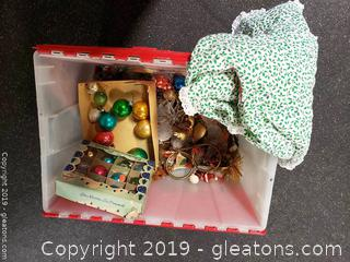 Lot 29 Large Lot Of Vintage Christmas Ornaments/Tree Skirt Glass/Brass/Cherubs
