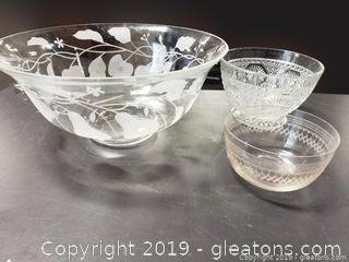 Lot 15 Old Glass Bowl Lot (3) Different Sizes