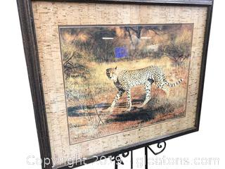"35x30 Artwork By Charles Frace ""Cheetah"" Gorgeous Print In Frame"