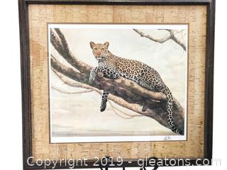 35x32 Artwork By Charles 831/2500 Signed Frace Cheetah Print In Gorgeous Framework