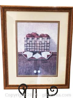 Artwork In Beautiful Matting And Frame Farmhouse Apples In Basket
