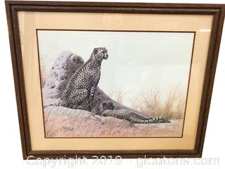 Cheetah Beautiful Print By Guy Pohel Each. Framed In Gorgeous Wood Frame Info In Artist Included