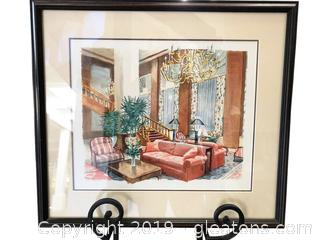 18x16 Artwork Watercolor Of Grand Parlor Unsigned