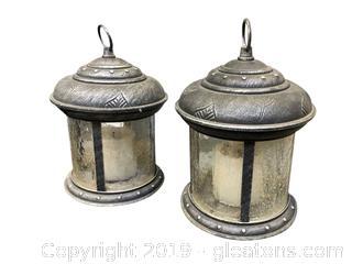 Lot 389 Pair Of Lanterns Heavy Iron