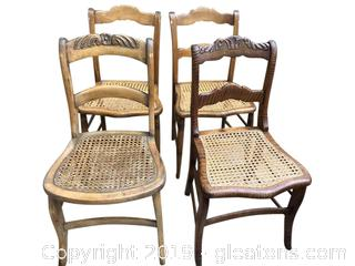 378 Set Of Four Antique Cane Seat Chairs