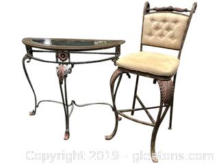 "Lot 391 39""w Table Tufted Back Counter Height Stool And Table Glass Top Iron"