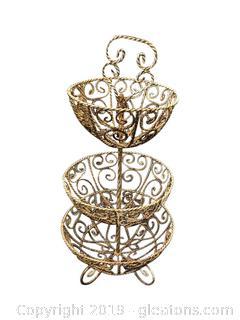 Lot 387 Vintage Iron Flower Basket