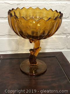 Vintage Amber Compote