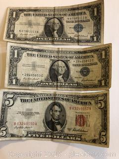1950's Silver Notes and Five Dollar Note