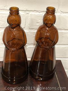 Vintage Amber Mrs. Butterworth Syrup Bottles