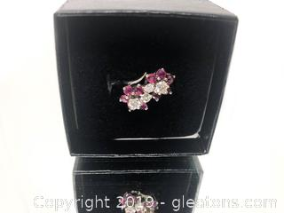 White 14k White Gold Ruby And Diamond Ring With Appraisal For 1,350.00