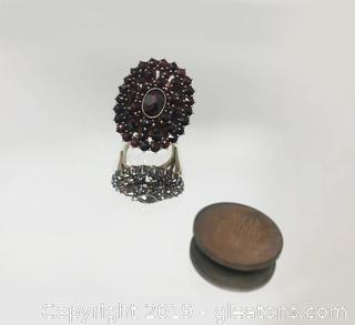 Stunning Cocktail Ring Garnets and Size 5