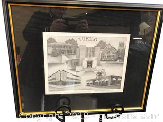 Signed Lithograph Charcoal Of Tupelo 194/300 By Michelle Rideout