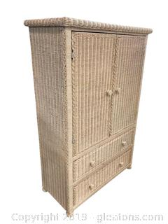 Vintage White Wicker Almoire Dresser 2 Drawers 1 Shelf