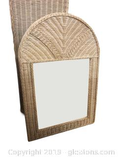 Lot of 2 Wicker Chest for Blankets and Wicker Mirror